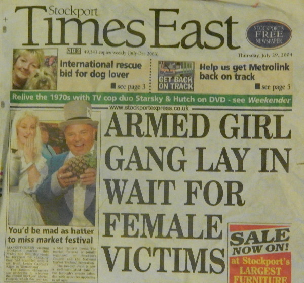 Front page of the Stockport Times East from 29th July 2004
