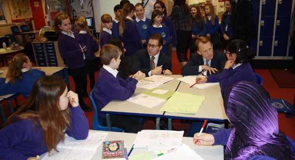 Mark Hunter MP and Schools Minister David Laws at Cheadle Primary School