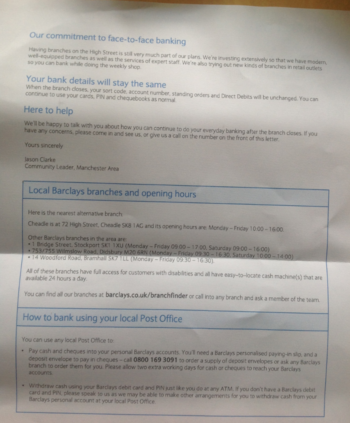branch closure letter to customers