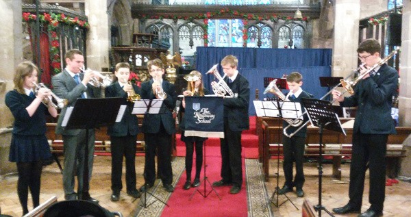 The Kingsway School band playing at St Mary's Church